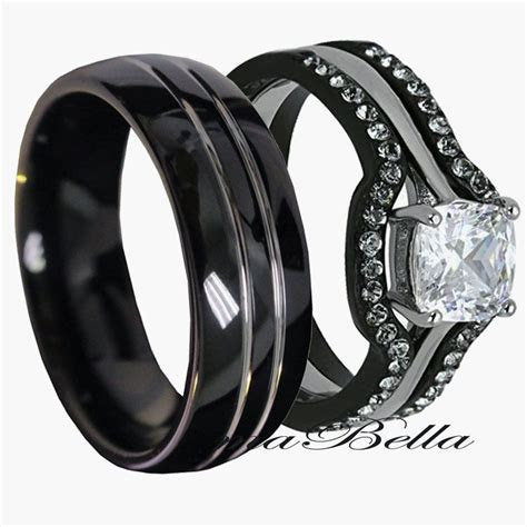 Black Wedding Rings His and Hers   Wedding and Bridal