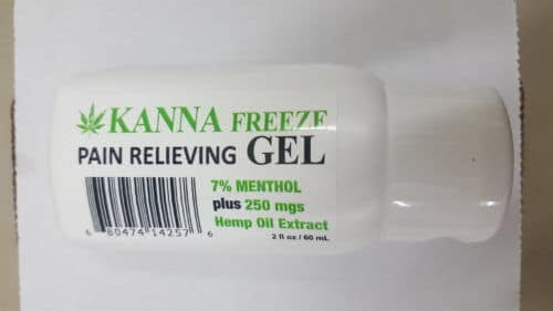 CBD Cream – Kanna Freeze – Pain Relieving Gel – 7% Menthol – 250 mg Hemp Oil Extract