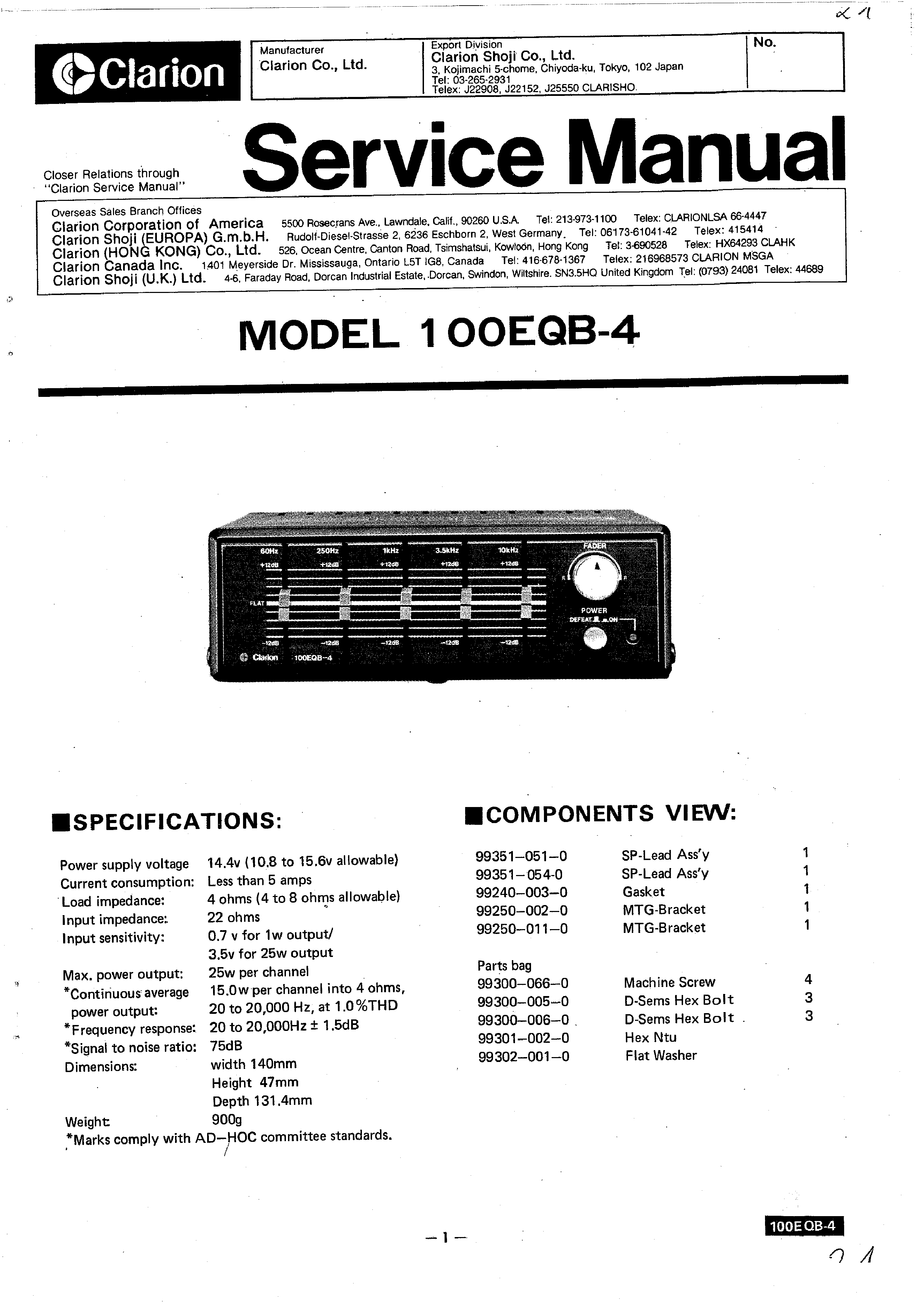 Clarion 100eqb 4 Service Manual Immediate Download