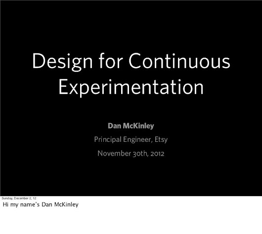 Design for Continuous Experimentation
