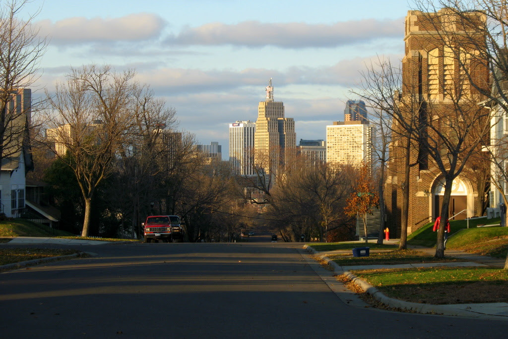 There is a great view of the taller downtown St Paul buildings from the top of the hill on Bidwell Street.