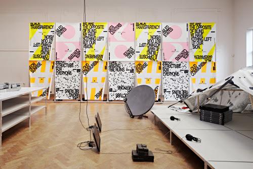 mthvn:  Metahaven, Black Transparency, 2013. Installation view at Bureau Europa, Maastricht. Photo Johannes Schwartz