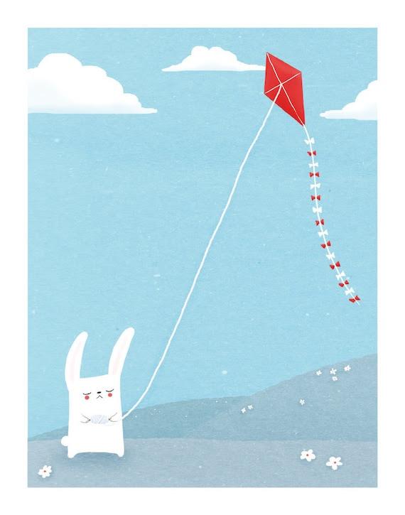 bunny nursery art. blue, white red. rabbit flies a kite. 8.5 x 11 art print for kids / baby