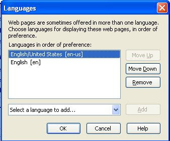 Firefox Tools Options Advanced Languages Chose