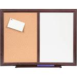 """Lorell 24"""" x 18"""" Dry-Erase/Bulletin Combo Boards, Mahogany"""