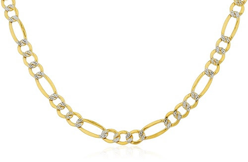 The 10K Yellow Gold Pave Figaro Chain is back in fashion