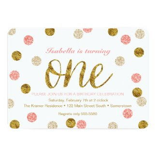 1st Birthday-Pink and Gold Glitter Polka Dots Card