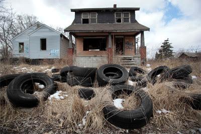 Una casa abandonada en Detroit.