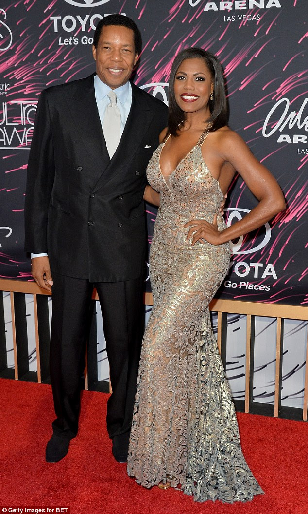 Power couple: Producer Tony Cornelius, who of course has been involved in the production of the show Soul Train (and the awards) for many years, looked dashing in a sharp suit while companion and TV personality Omarosa really stunned in a full length gown