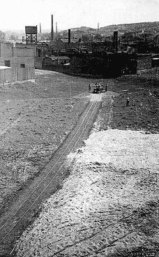 View during the construction of Oskar Schindler's armaments factory in Bruennlitz. Czechoslovakia, October 1944.
