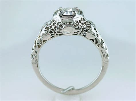 Vintage Antique .70ct Diamond 18K White Gold Art Deco