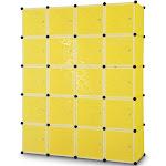 Costway DIY 20 Cube Portable Closet Wardrobe Storage Organizer Clothes Cabinet with Doors, Yellow