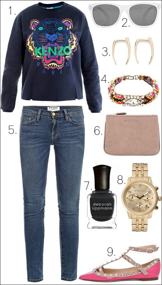 LE FASHION BLOG OUTFIT COLLAGE Kenzo Tiger Embroidered Sweater Madewell Plastic Sunglasses  Gabriela Artigas Infinite Tusk Earrings frieda nellie Frieda II FRIENDSHIP CRAFT GEM Bracelet Frame Denim Le Skinny de Jeanne Skinny Jeans DENIM Givenchy Brown Leather Lizard Print NUDE CLUTCH Pouch Deborah Lippmann Nail Polish in Stormy Weather Michael Kors Gold Crystal Chronograph Watch Valentino Rockstud Patent Leather Ballerina Flat in PINK Pop Fuchsia Nude