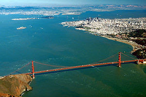 Aerial view of the Golden Gate and the central...
