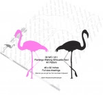 Flamingo Walking Yard Art Woodworking Pattern - fee plans from WoodworkersWorkshop® Online Store - flamingoes,yard art,painting wood crafts,scrollsawing patterns,drawings,plywood,plywoodworking plans,woodworkers projects,workshop blueprints