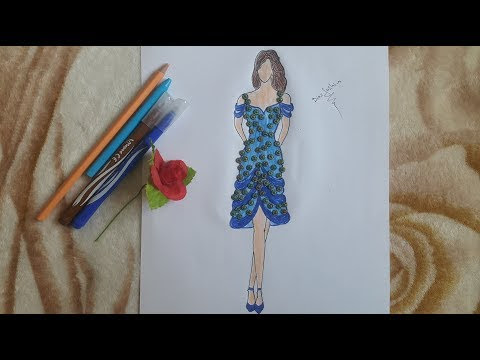 How to Draw Amazing Dress ( Blue Dress )