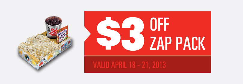 3 off Zap Pack at Regal April 18 Regal Cinemas $3 off Zap Pack (Soda, Popcorn and Candy)