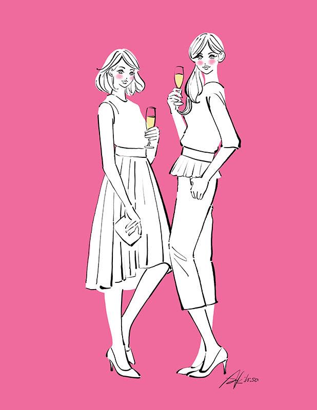 パーティの二人女の子のイラスト作成恋するイラストレーションno499