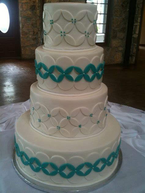 White Turquoise Wedding Cake   CakeCentral.com