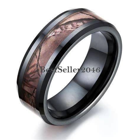 Black Ceramic Men's Hunting Camo Camouflage Ring Comfort