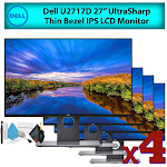 """Dell U2717D 27"""" 16:9 UltraSharp Thin Bezel IPS LCD Computer Monitor (4-Pack) Best Value Bundle with LCD Screen Cleaning Kit for Home Office"""