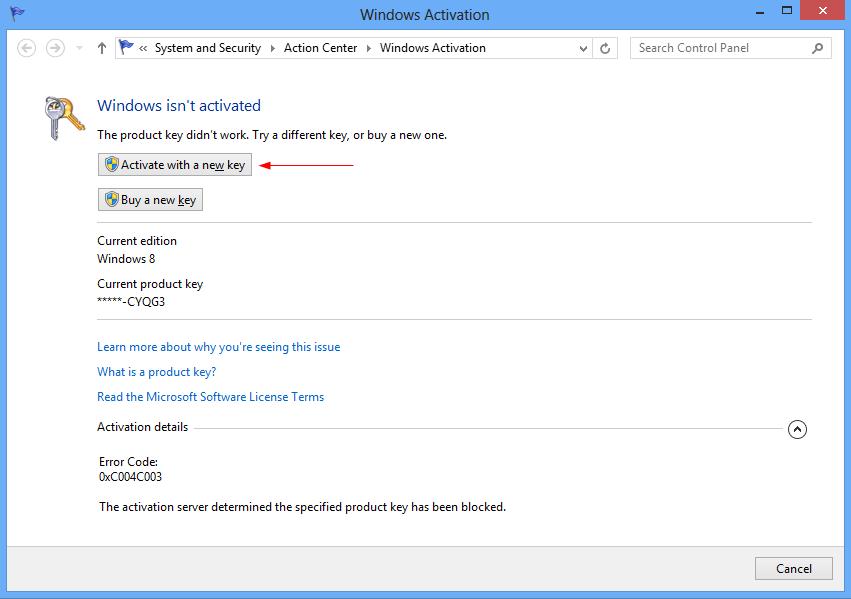 Windows 8 Activation key / Serial Key (Full Version)