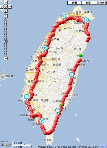 2013環台路線軌跡圖
