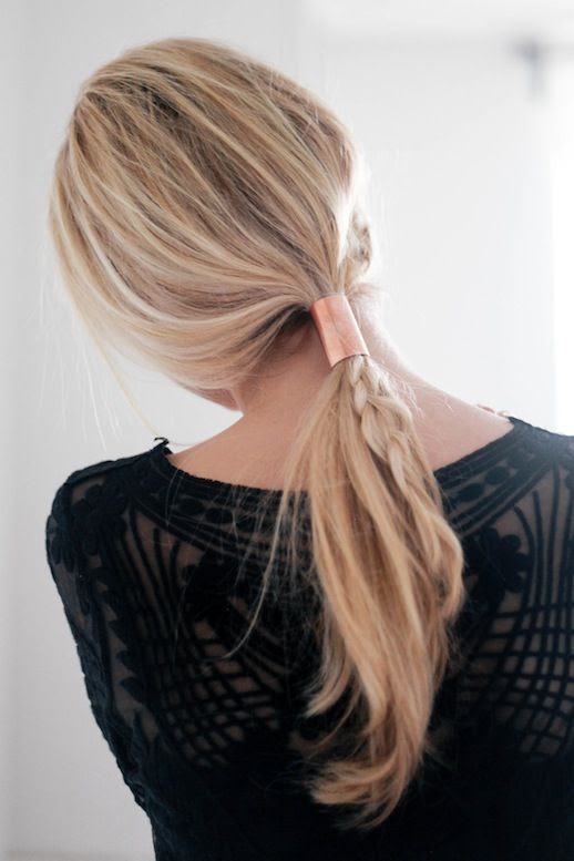 Le Fashion Blog Blonde Braided Copper Tube Ponytail Hair Inspiration Black Sheer Shirt Via Treasure & Travels