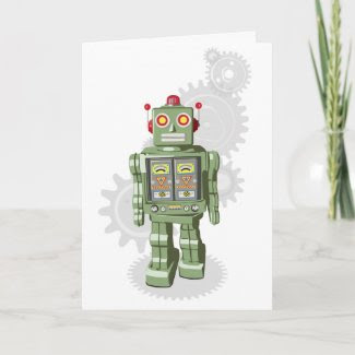 Mechanical Toy Robot Birthday Card card