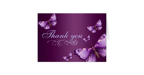 Purple Butterfly Thank You Card   Zazzle