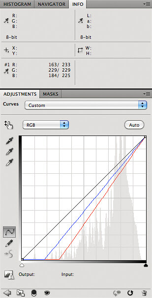 Converting from intrinsic white balance to daylight - curves