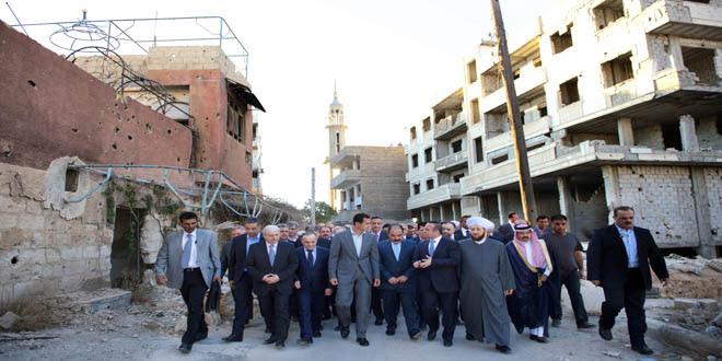 President Assad tours Daraya after Eid prayers