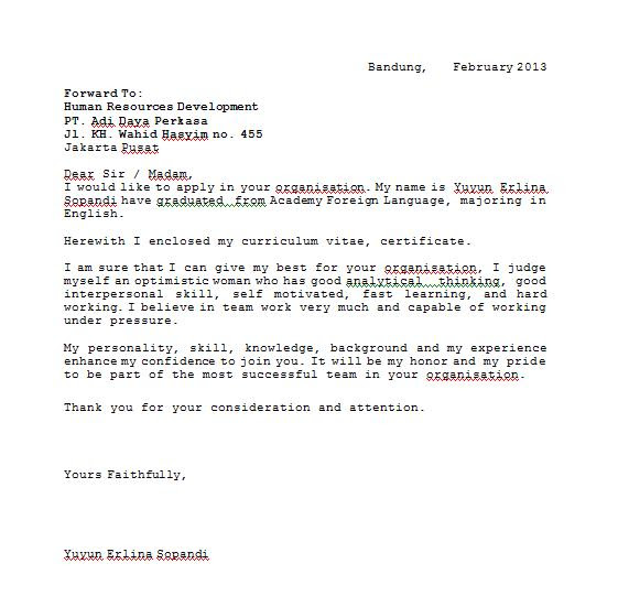 Contoh Surat Lamaran Kerja Dalam Bahas Inggris Bagi Contoh Surat