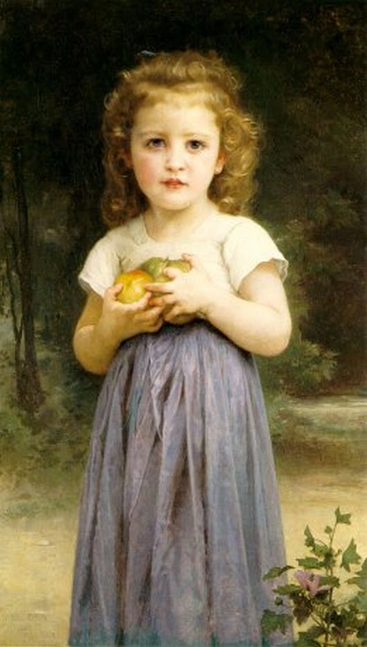 "Image: Little Girl Holding Apples"" ~ William Bouguereau (1895) 
