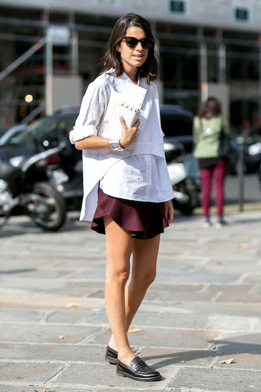 Le Fashion Blog Blogger Style Spring Layered Look White Cropped Shirt Button Down Burgundy Mini Skirt Black Loafers Via Popsugar