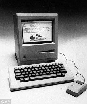 The Mac, pictured, featured a 3.5-inch floppy disk drive - at a time when a 5.25-inches were standard