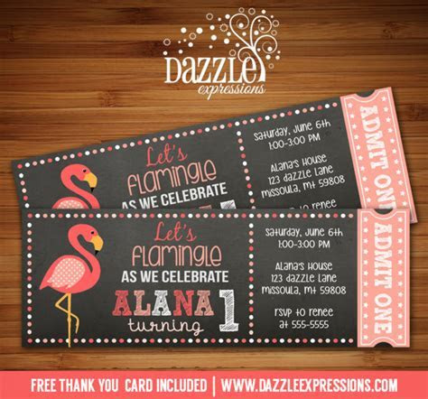 Printable Flamingo Chalkboard Ticket Birthday Invitation