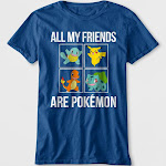 Boys' 'All My Friends Are Pokemon' Short Sleeve Graphic T-Shirt - Blue M