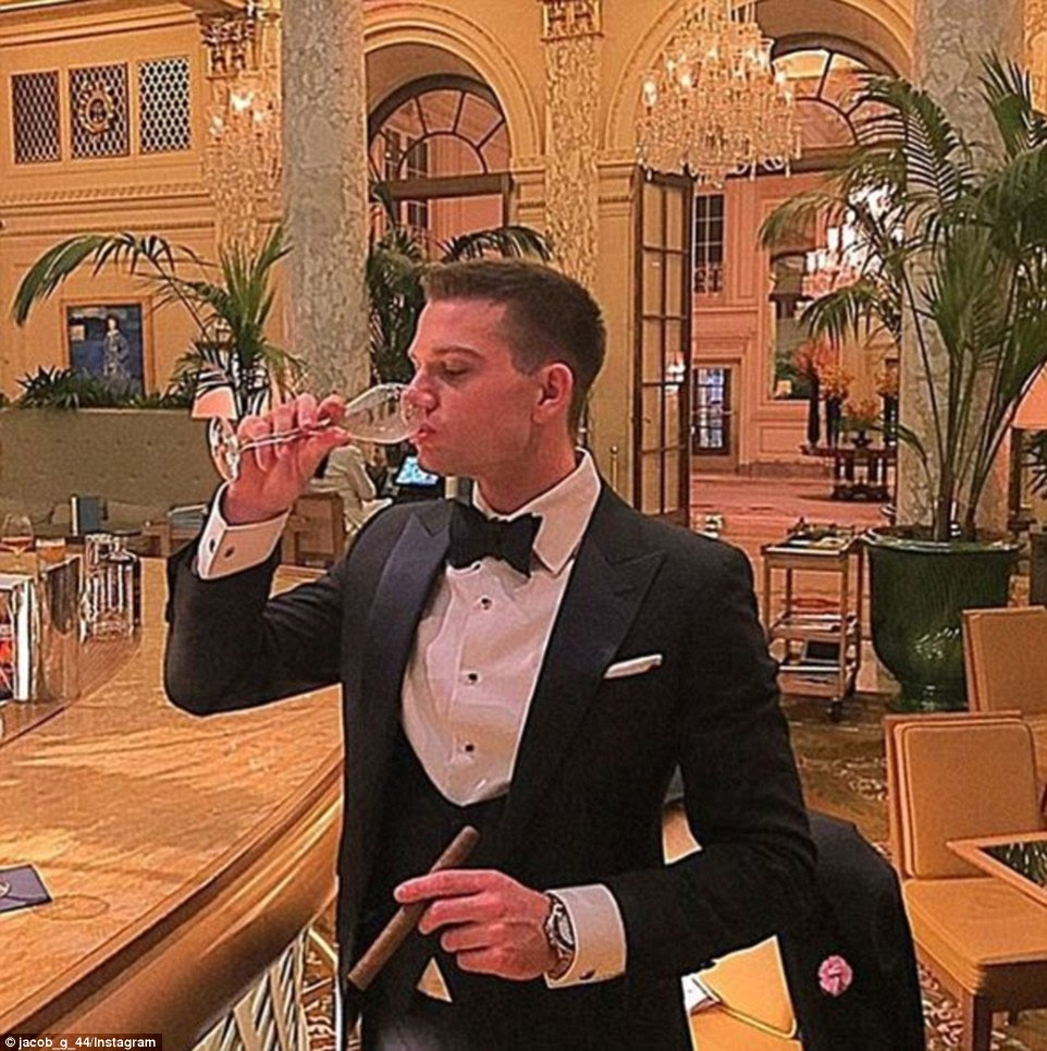 And Rich Kid of Instagram Jacob enjoyed a cigar at The Plaza New York, or what he dubbed his 'neighborhood dive bar', before jetting off to San Juan for Christmas vacation