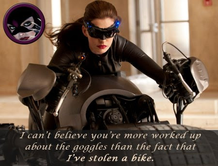 The Catwoman of Chris Dee's Cat-Tales response to the picture of Anne Hathaway goggle costume from The Dark Knight Rises