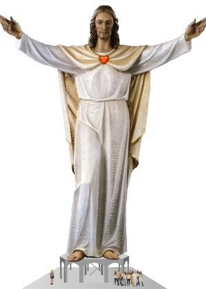Projeto da estátua Sagrado Coração de Jesus em Itanhomi, de Evandro di Caetano, com 28 metros de altura