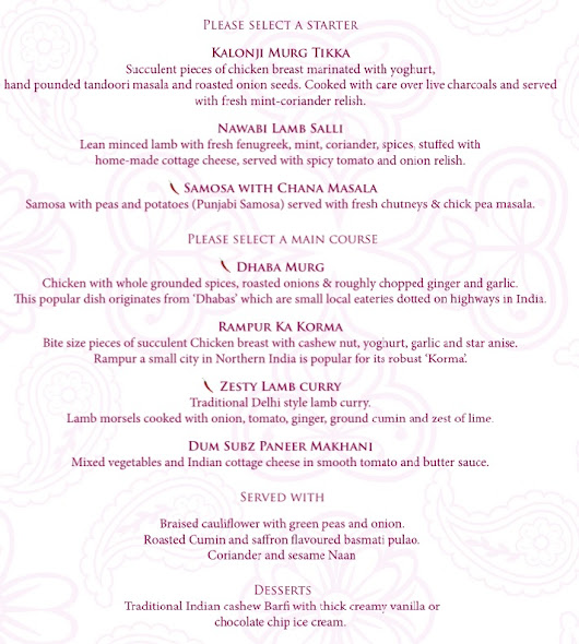 Mothers day 3 course lunch menu £25 pp - Indian Zest