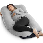 PharMeDoc U-Shaped Full Body Pregnancy Pillow - Grey
