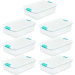 Sterilite 32-Qt. Clear & Blue Stackable Latching Storage Box Container (7 Pack) at Spreetail (VMinnovations   VM Express)