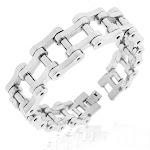 Stainless Steel Silver-Tone Bike Chain Link Mens Bracelet