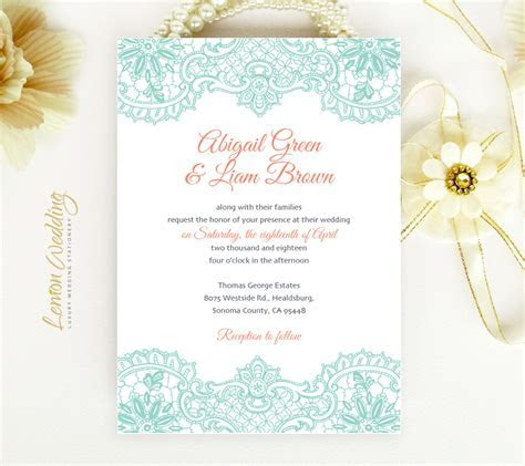 Mint and Coral Wedding Invitations   LemonWedding