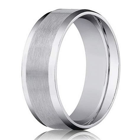 Designer 14K White Gold Men's Wedding Ring, Beveled Edge   4mm