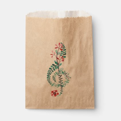 Botanical Treble Clef Favor Bag