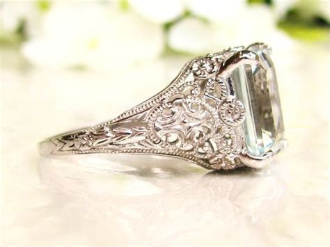 Vintage Aquamarine Engagement Ring 3.79ct Emerald Cut