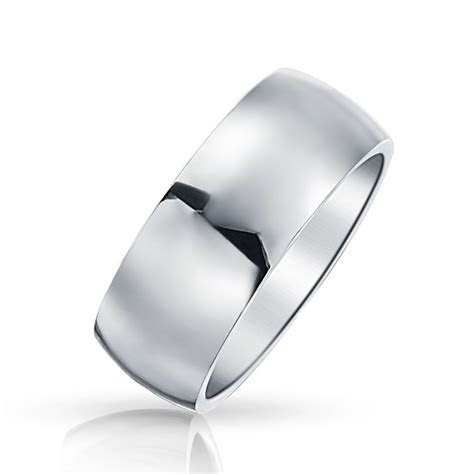 Mens Wide Classic Wedding Band Stainless Steel Polished